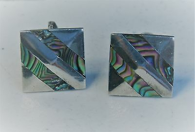 Men's Taxco Mexico Artisan Sterling Silver Abalone Inlay Diagonal Cuff Links