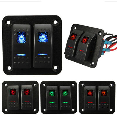 12V 24V 2 Gang Dual LED Light Rocker Switch Panel Bar Car Caravan Boat Rv IP65