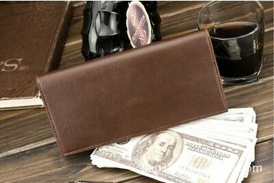 New Mens Long Casual Leather Wallet Pockets Card Clutch Cente Bifold Purse wa2