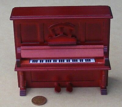 1:12 Scale Brown Wooden Upright Piano Dolls House Miniature Instrument 245