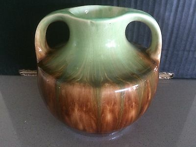 NEWTONE POTTERY SYDNEY 12.5cm TALL STAMPED No. 52 TWIN HANDLED DRIP GLAZE VASE