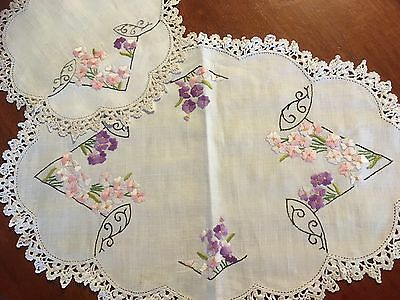 Lovely Vintage Linen Embroidered Pink Mauve Flowers Doily Pair Craft or use