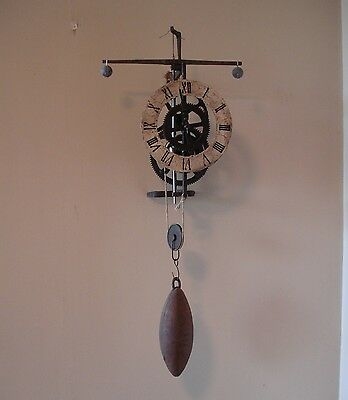 Iron Gothic Style Verge And Foliot Weight Driven Lantern Wall Clock  #2