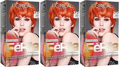 3 x LOreal Paris Feria - 7.46 Pure Paprika - Hair Colourant Dye