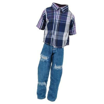 Fancy Clothes Ripped Trousers Pants Shirt for Barbie Boy Firend Ken Dolls