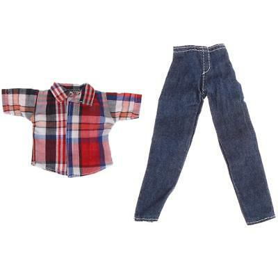 Doll Clothes for Barbie Ken Red Check Top Shirt + Ripped Jeans Pants Trouser