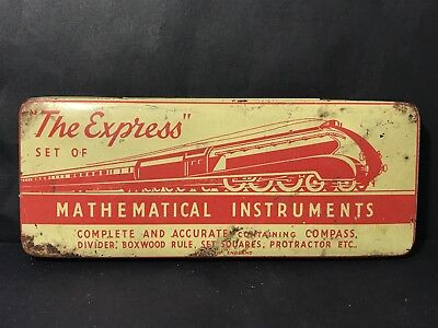 Vintage THE EXPRESS Mathematical Instruments Tin Made in England, Train, Empty