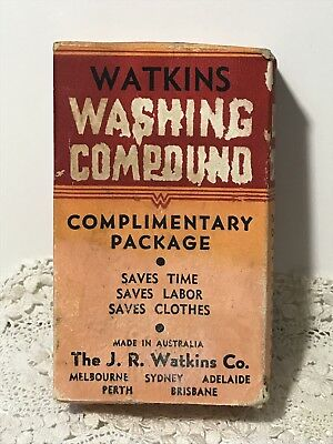 Vintage WATKINS WASHING COMPOUND Complimentary Package Advertising Box, Aust