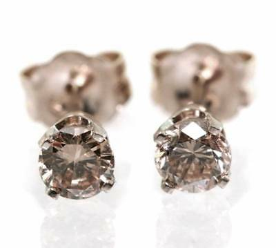 0.47CT Genuine Champagne Diamond 14K 14KT Solid White Gold Earrings Studs
