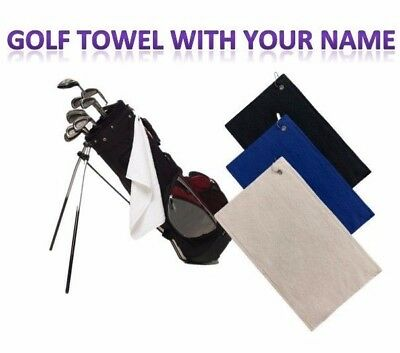 Golf Bag Towel With Your Name Embroidered Black Blue White Beige Personalised