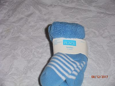 New Baby Boy's, 2 pairs of booties, in 0-6 months, By The Children's Place