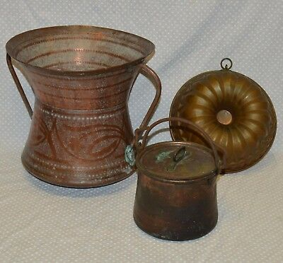 LOTTO 3 pz ANTICA ANFORA rame PAIOLO epoca 900 BUDINIERA STAMPO OLD copper MOLD