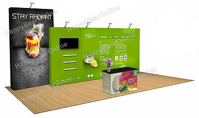 Trade show pop-up 20ft x 10ft fabric exhibition booth 10ft tall shelves (V2)