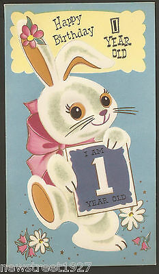 Vintage Canadian Friendship House Birthday Card, Rabbit Punch Out Tag 1950's