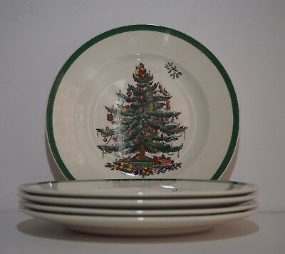 """Set of 5 Spode Christmas Tree Side Plates 7 3/4"""" #S3324 T Made in England"""