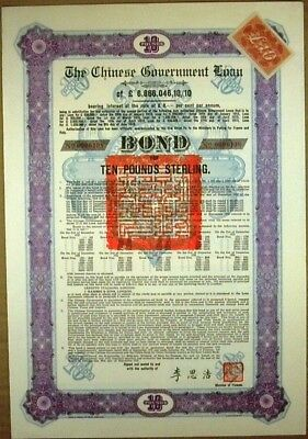 Chinese Govt. 1912 Sterling Loan Bond For £10, With 11 Coupons Attached