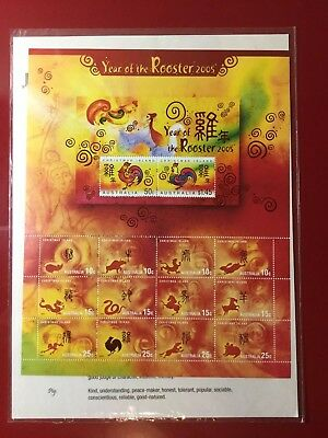 CHRISTMAS ISLAND 2005 Year of the Rooster ZODIAC Sheetlet Stamps Australia NEW