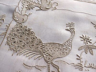 PEACOCK Vintage Marghab Madeira 12pc Placemats Napkins Hand Embroidery BEAUTIFUL