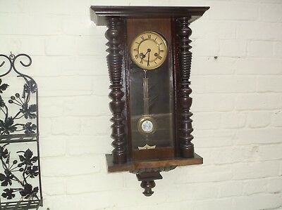 Beautiful  Old Wall Clock  Mechanical (Wooden) Gongs The Hour And The Half
