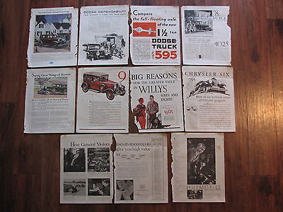 1930 Automobile ads lot of 11 pages - GM, Dodge, Ford, Chrysler, Hudson, Willys