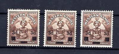 Western Samoa 1940 3d on 1 1/2d Surcharge x 3 MH X7901