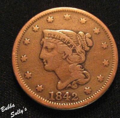 1842 Braided Hair Large Cent <> Large Date