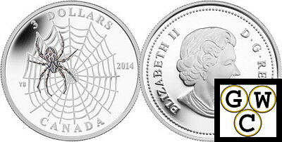 2014 Spider and Web-Animal Architects Proof $3 Colored Silver Coin .9999 (13309)