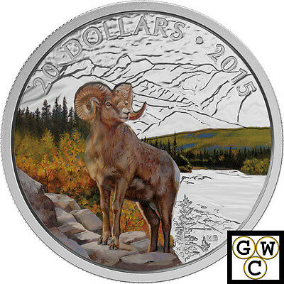 2015 'Bighorn Sheep' Colorized Proof $20 Silver Coin 1oz .9999 Fine (16968)