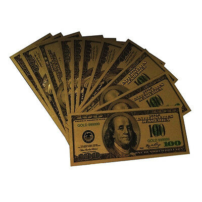 10PCS One Hundred Gold Dollar Bill $100 Gold Banknote Colorful USD 100