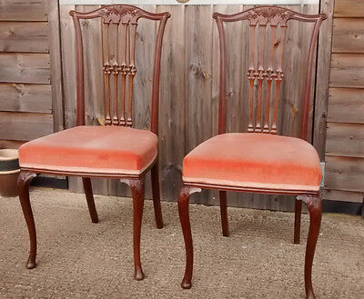 Pair of antique Edwardian dining chairs mahogany