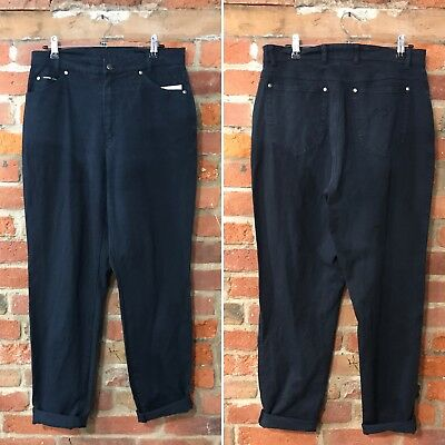 VINTAGE MOM JEANS HIGH WAISTED TAPERED 90s NAVY BLUE (J89) W31-32 L32 SIZE 12-14