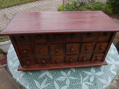 Vintage solid wood Asian Spice cabinet with 18 drawers