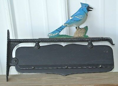 Vintage Cast Aluminum Mailbox Topper Blue Jay Address House Nombers Dbl Sided