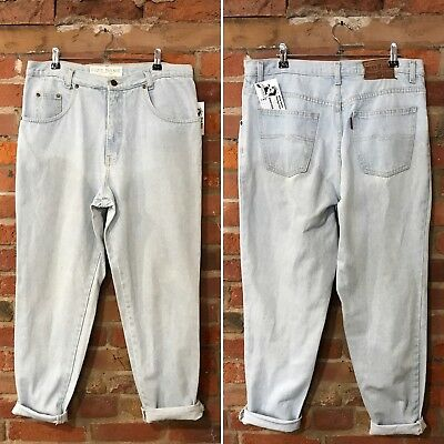 VINTAGE MOM JEANS HIGH WAISTED TAPERED 90s LIGHT BLUE (J93) W34 L30 SIZE 14