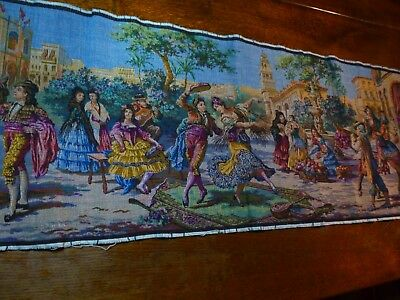 """VINTAGE WOVEN TAPESTRY  SPANISH DANCERS in Market Place Very Colorful 57 x 20"""""""