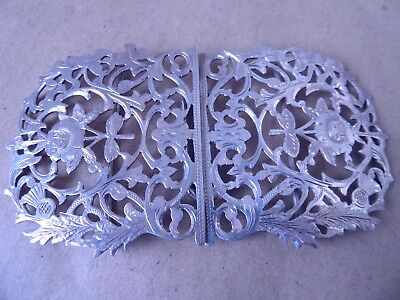 Pretty Large Victorian Sterling Silver Scottish Thistle & Rose Buckle 1901