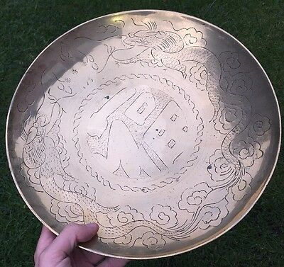 Large Antique Brass Oriental Chinese Hanging Plate Bowl