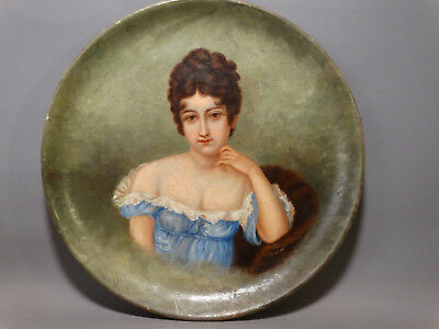 Antique 19thC VICTORIAN LADY Old SALOON GIRL Portrait BROTHEL PAINTING POTTERY