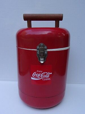 Collectible Coca-Cola Coke Round Red Cooler Ice Bucket Metal Styrofoam Pop Soda