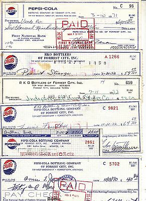 Pepsi-Cola Checks 6 Different 1970-1972
