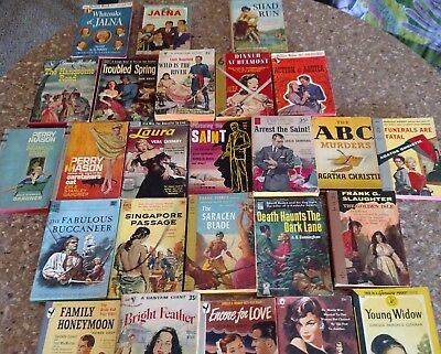 25 Vintage Pulp Paperbacks lot - 1950s Mystery Romance Adventure - Pocket Perma
