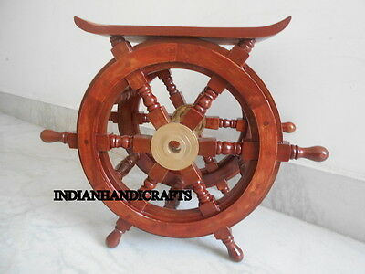 New Ship Wheel Teak Wood Carved Table Reproduction Nautical Sailor's Recreata