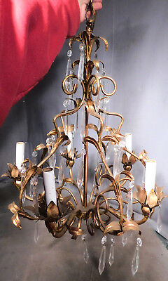Vintage Chic Italian Gilt Wrought Iron Florentine Chandelier ITALY Crystal Prism