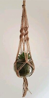 Jute Hanging Planter with Glass Bowl Macrame Style Rustic (Plant Not Included)