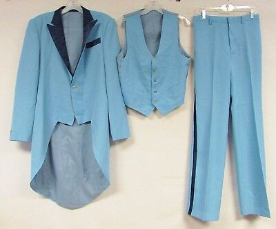 Vintage 70s Suit Tux Costume Dumb Dumber 30 x 34 Pants M Blue Harry Loyd 3 Piece