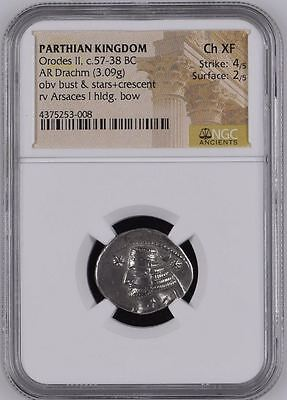 "NGC Silver Parthian Drachm, King ORODES II, Arsaces I, 1st Century BC, ""Ch XF"""