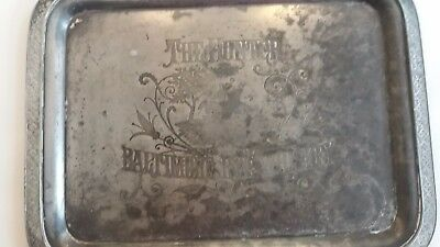 Early 20th century  Baltimore Rye Whiskey pewter serving tray