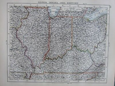 1897 Victorian Map ~ United States Illinois Indiana Ohio Kentucky