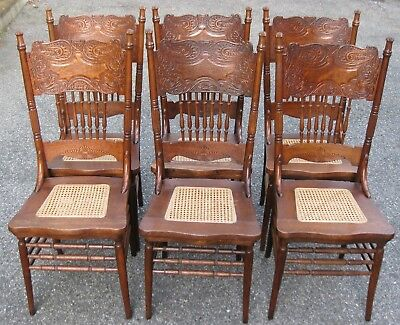 6 ANTIQUE OAK PRESS BACK SPINDLE LARKIN CHAIRS - MATCHING - OLD 1800s 1900s