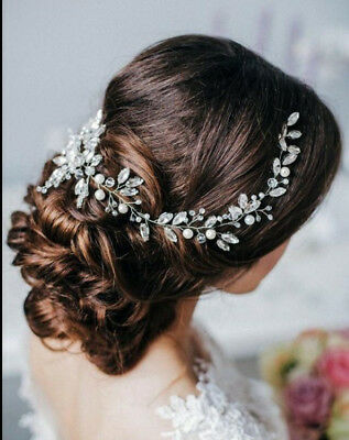 Missgrace Bridal Crystal Long Wedding Hair Vine Accessories Headbands Pearls NEW